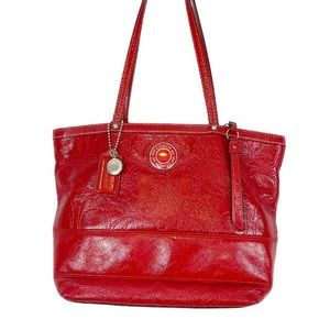 COACH Bold Red Patent Leather Monogram Tote